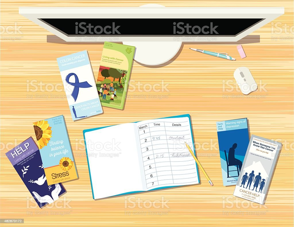 Healthcare Brochures and Pamphlets spread out on a desk. vector art illustration