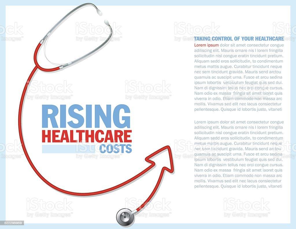Healthcare Costs Red Arrow Concept vector art illustration
