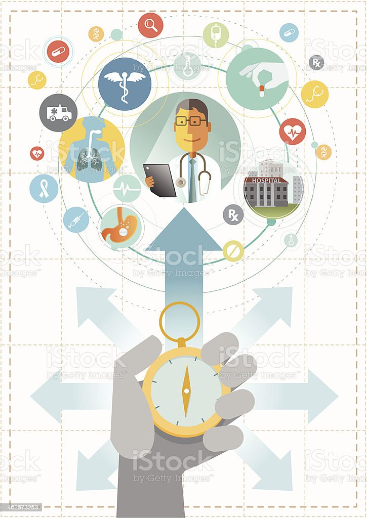 Healthcare direction vector art illustration