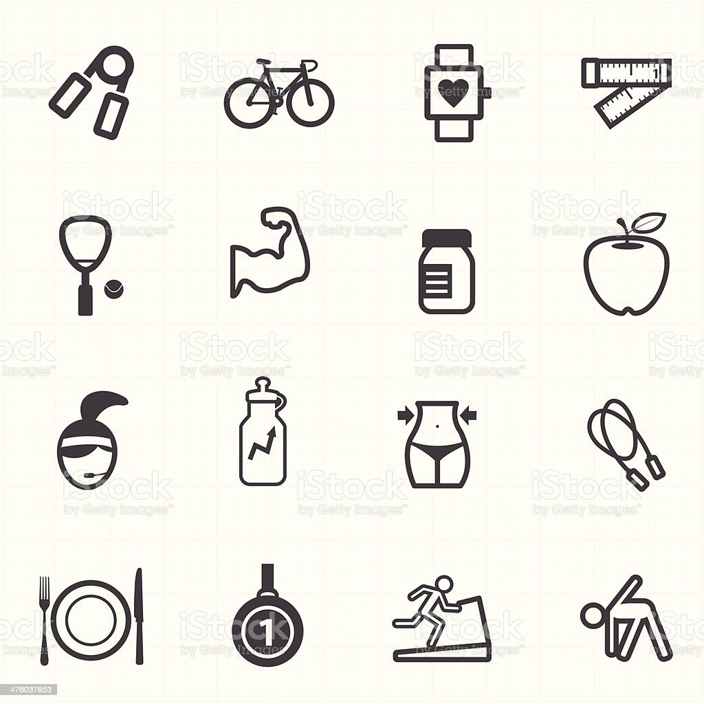Healthcare fitness icons set royalty-free stock vector art