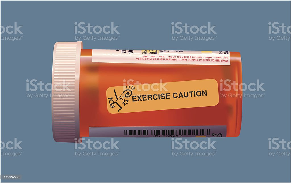 Healthcare graphic. Prescription drug container with caution label. royalty-free stock vector art