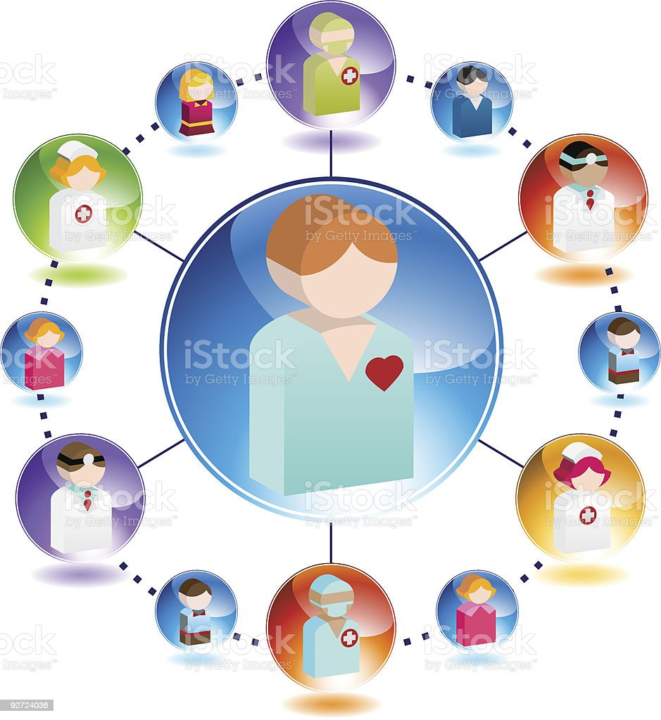 Healthcare icons featuring patients and professionals royalty-free stock vector art