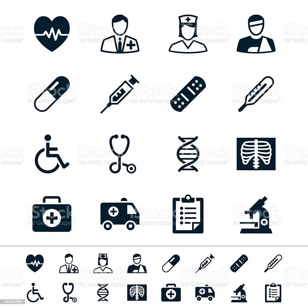 Healthcare icons in black and white vector art illustration
