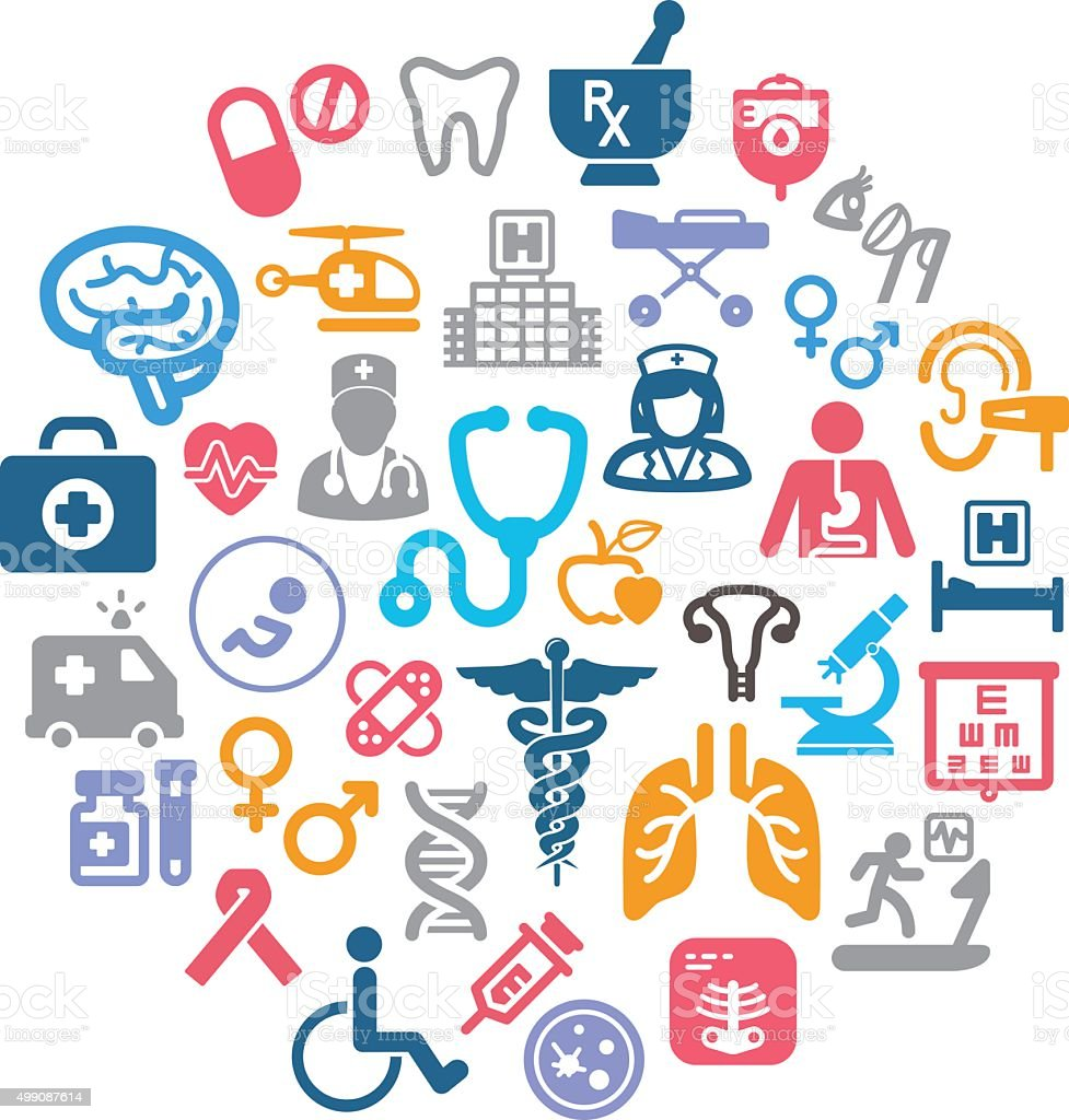 healthcare icons vector art illustration