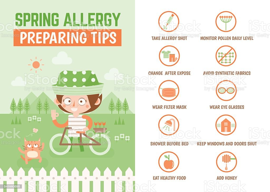 healthcare infographic cartoon character about spring allergy pr vector art illustration