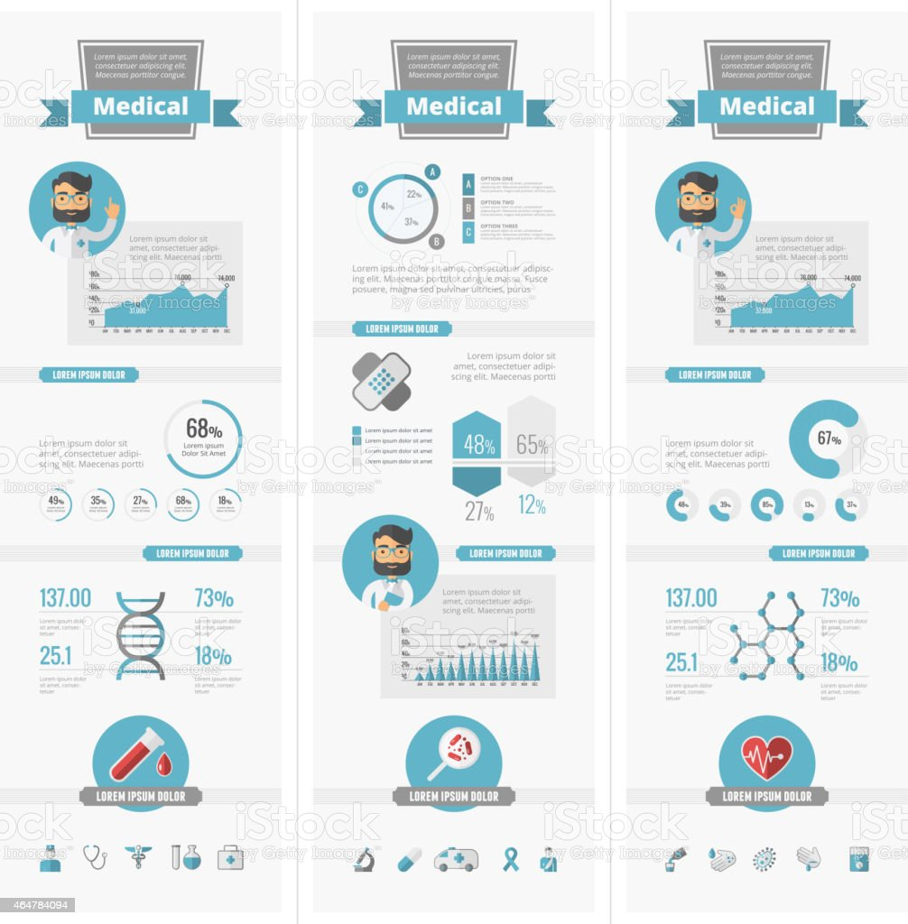 Healthcare Infographic Elements vector art illustration