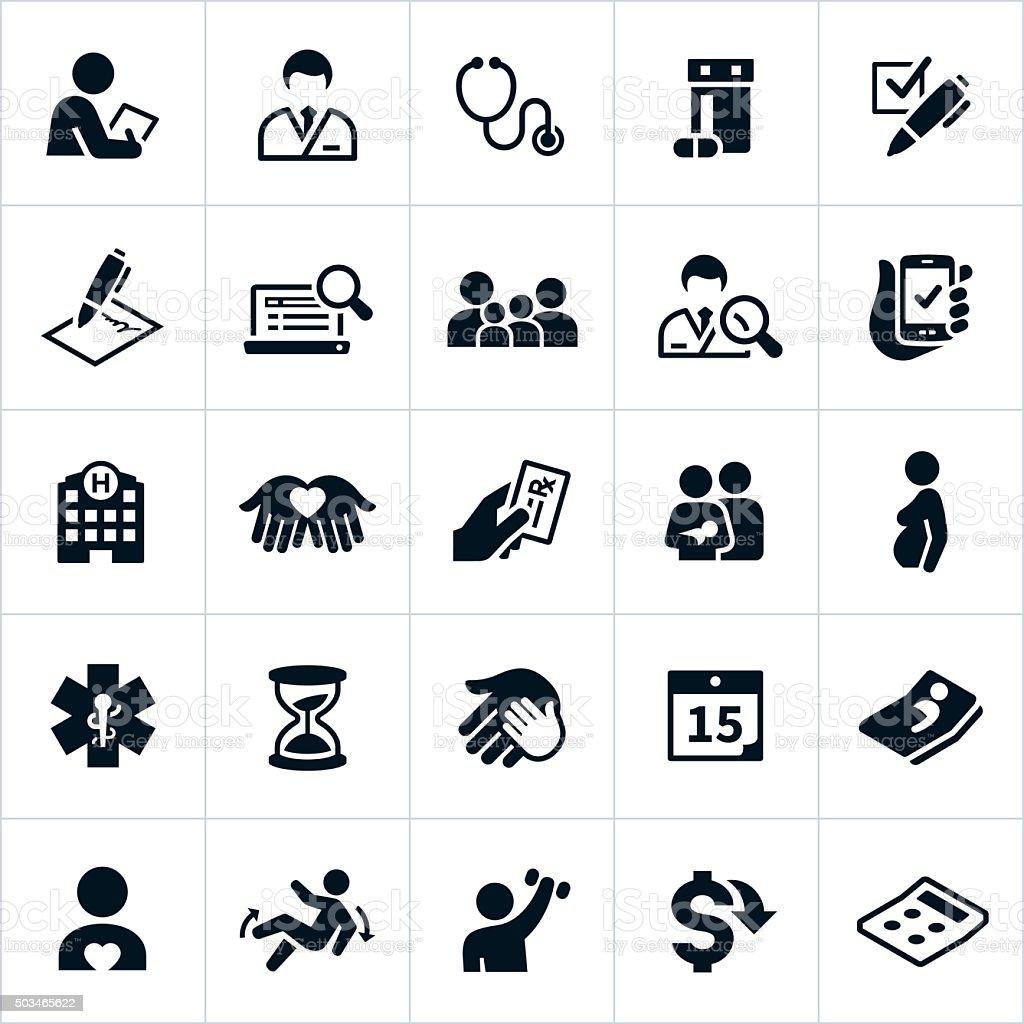 Healthcare Insurance Icons vector art illustration