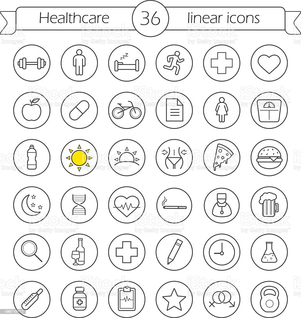 Healthcare linear icons set vector art illustration