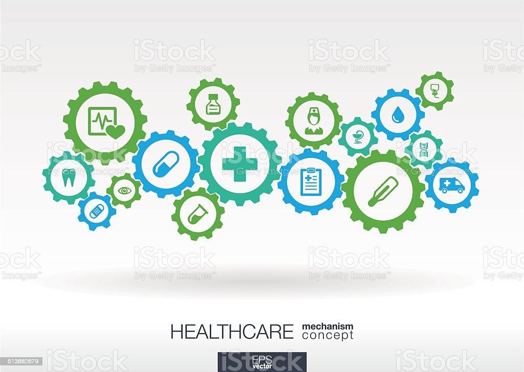 Healthcare mechanism concept. vector art illustration