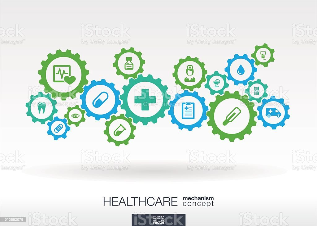 Healthcare mechanism concept. vector art illustration