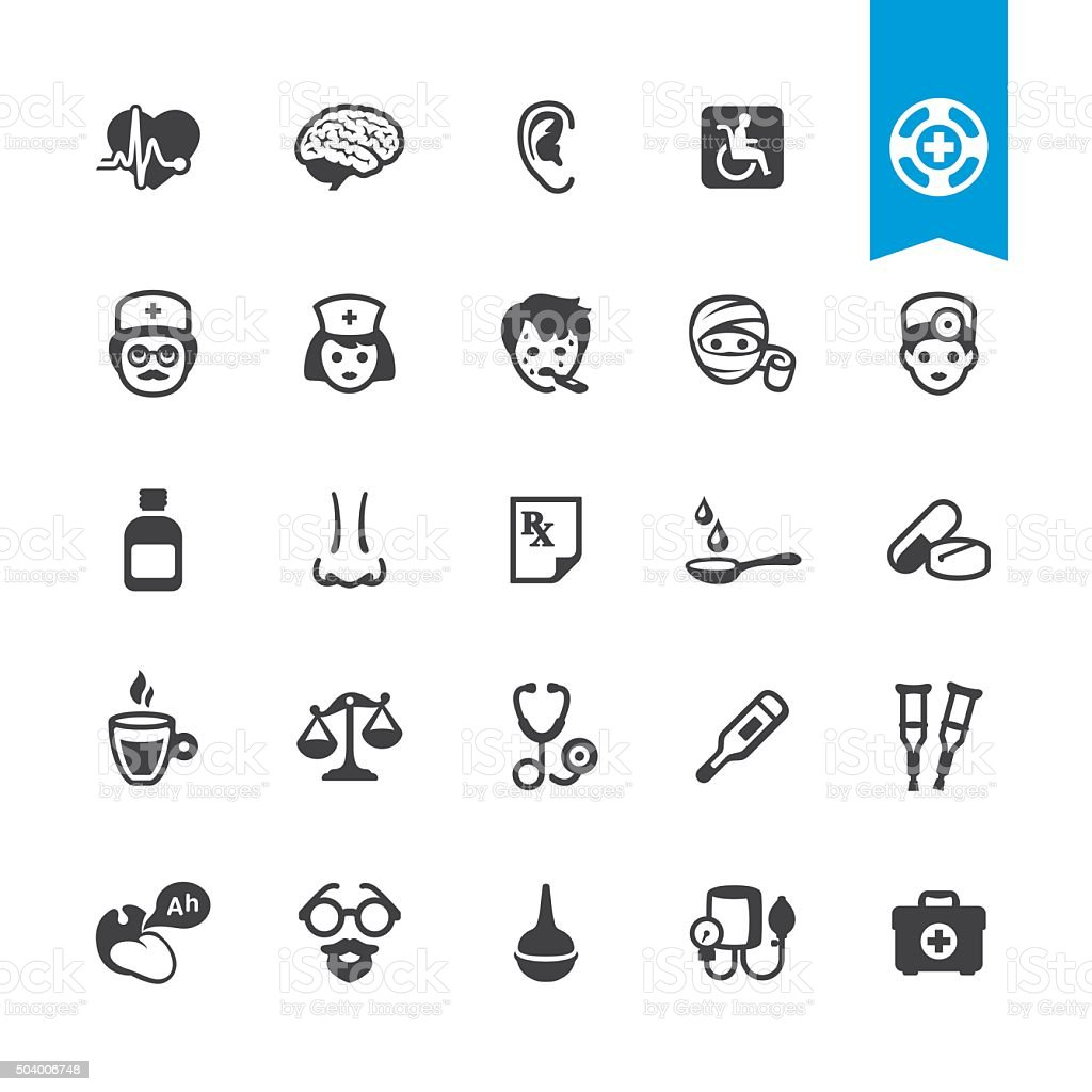 Healthcare, Medicine and Therapy related vector icons vector art illustration