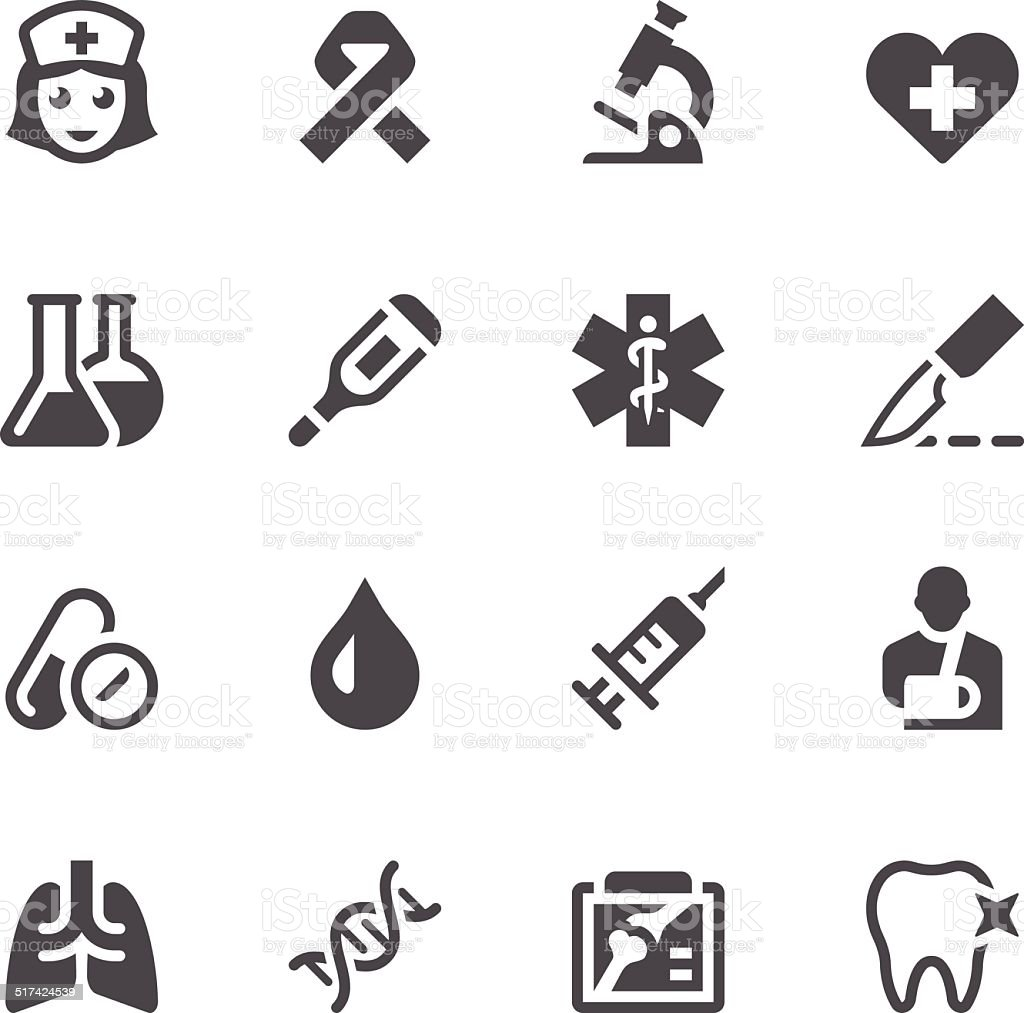 Healthcare & Medicine Icon Set vector art illustration