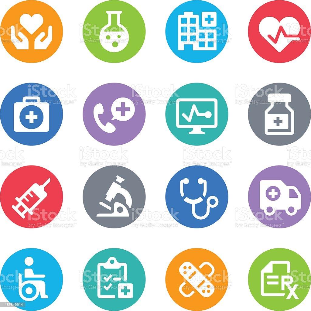 Healthcare & Medicine Icons - Circle vector art illustration