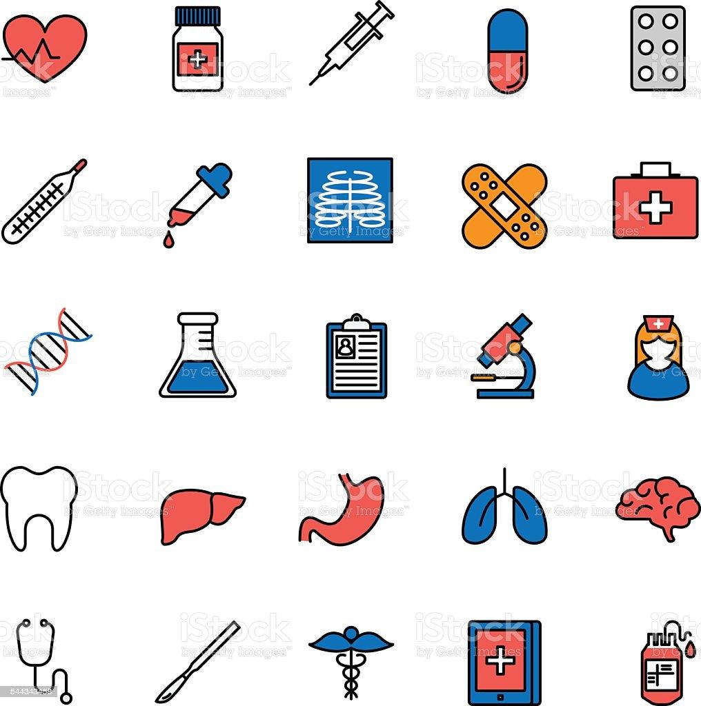 Healthcare, medicine, medical tools. Set of color vector icons. vector art illustration