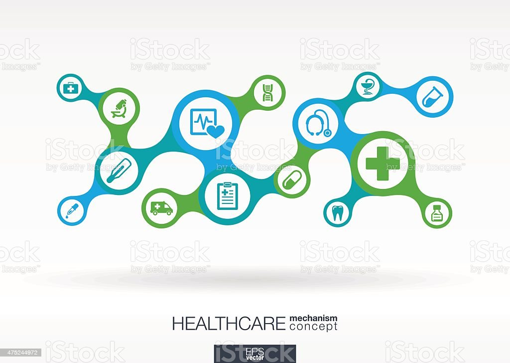 Healthcare metaball integrated icons. Growth vector medical abstract background illustration vector art illustration