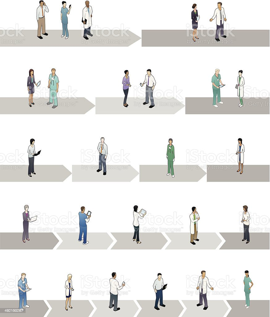 Healthcare Phases Diagrams vector art illustration
