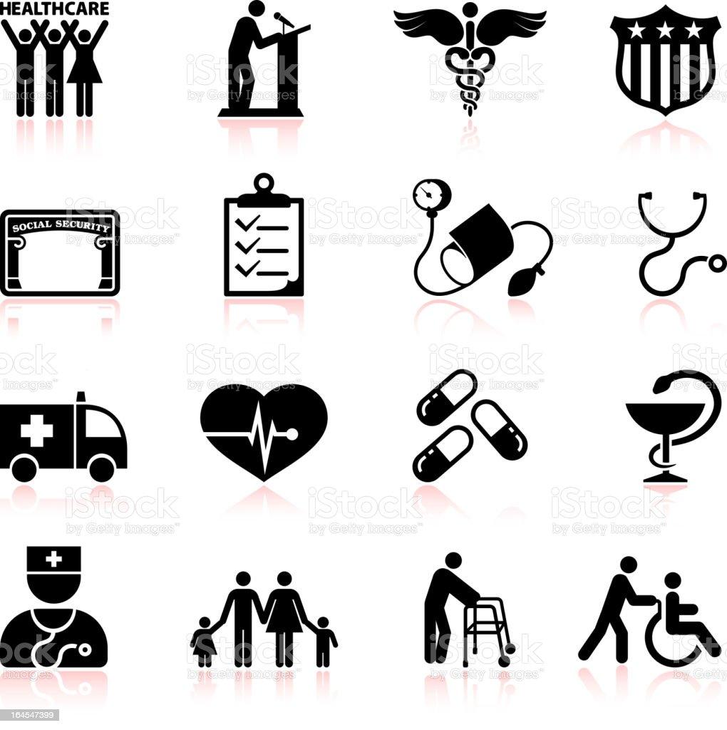 USA healthcare reform black and white vector icon set vector art illustration