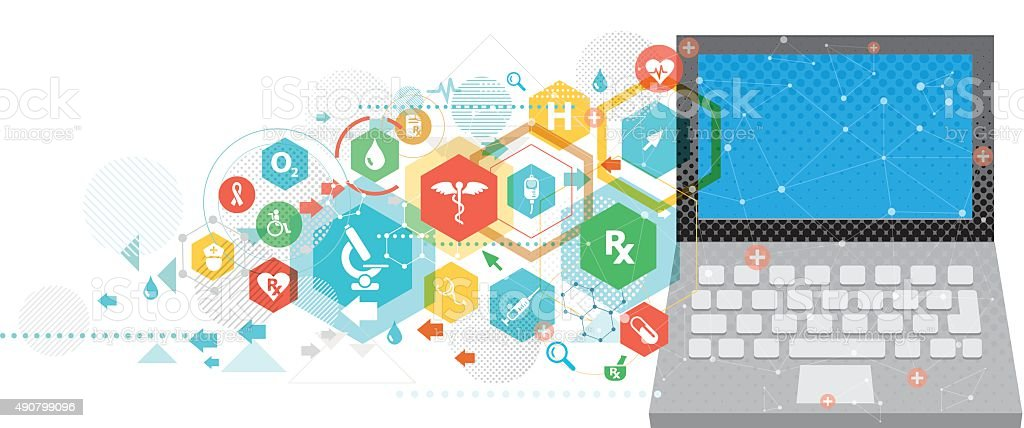 Healthcare service online vector art illustration