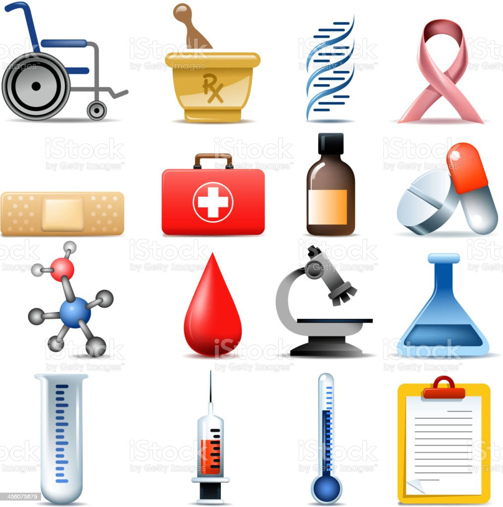healthcare set vector art illustration