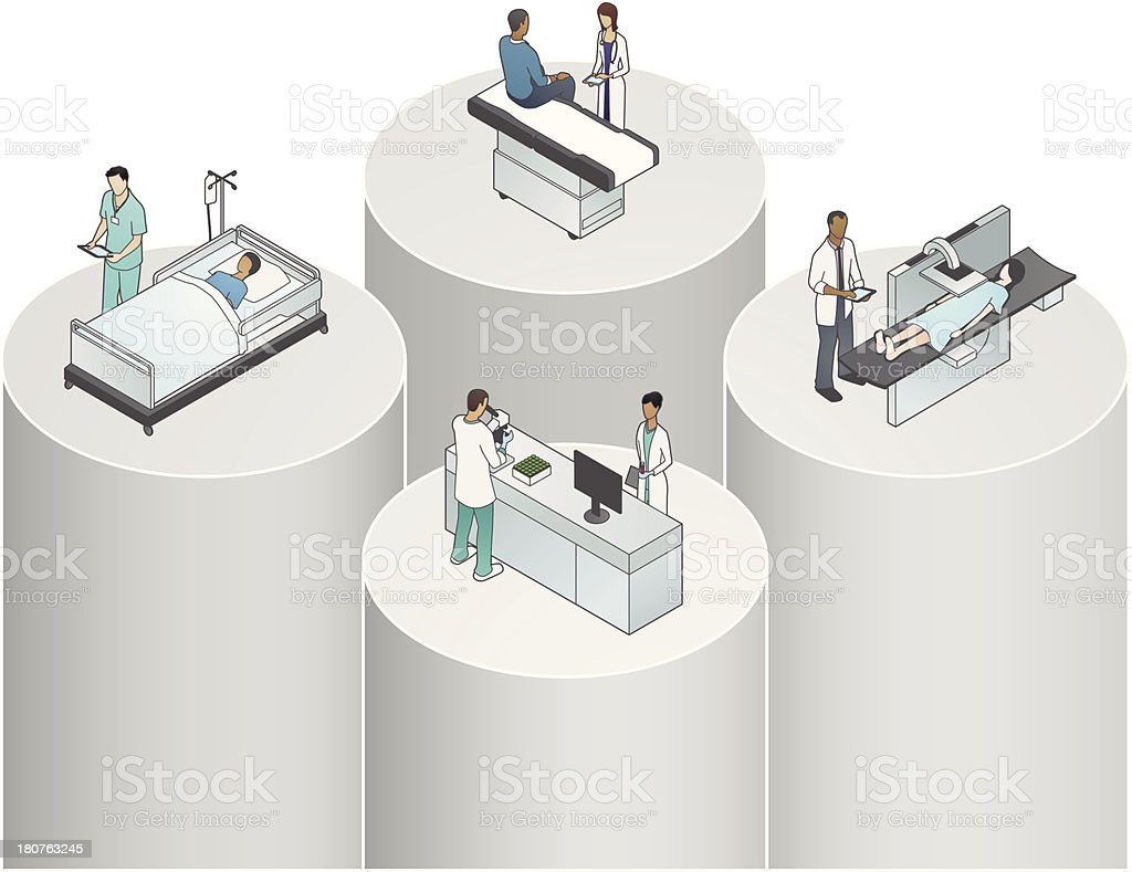 Healthcare Silos Illustration royalty-free stock vector art