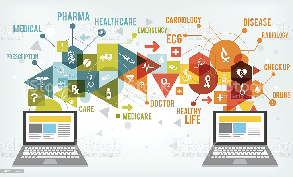 Healthcare tech share royalty-free stock vector art