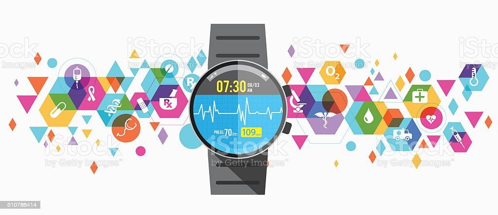 Healthcare wearable design vector art illustration
