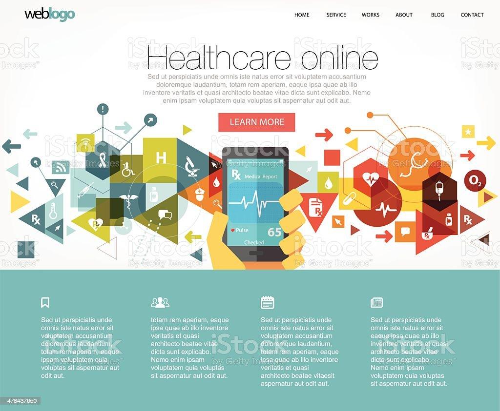 Healthcare website layout vector art illustration
