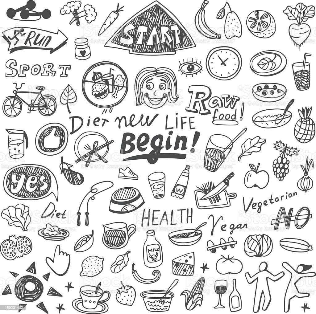 Health,food,diet - doodles set vector art illustration
