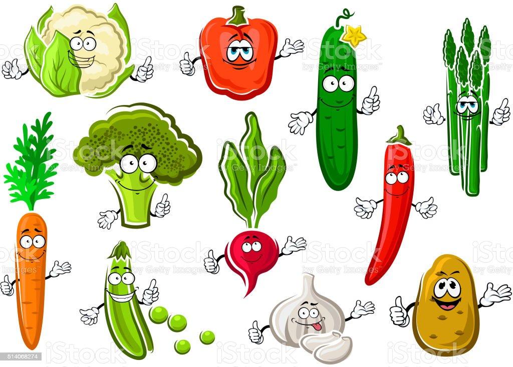 Healthful ripe farm vegetables set vector art illustration