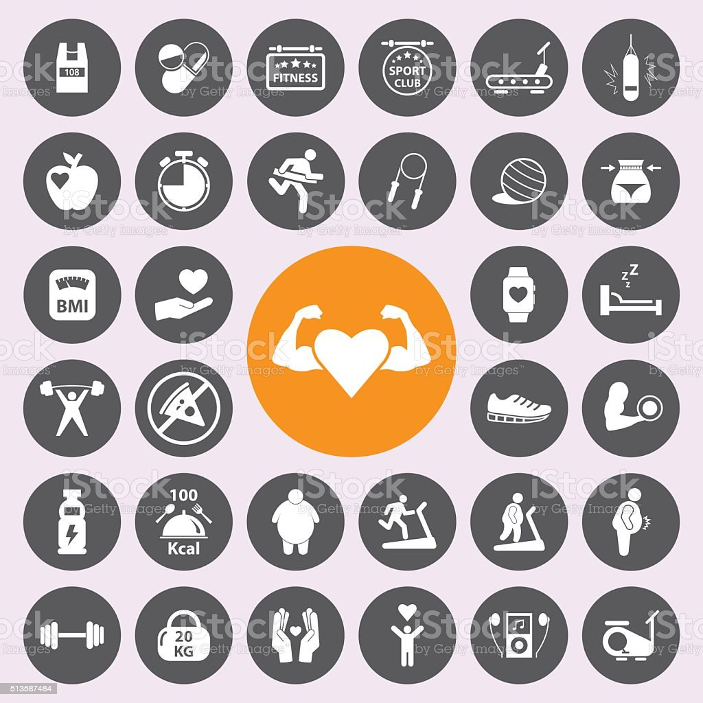 healthy and fitness icon set.Vector. vector art illustration