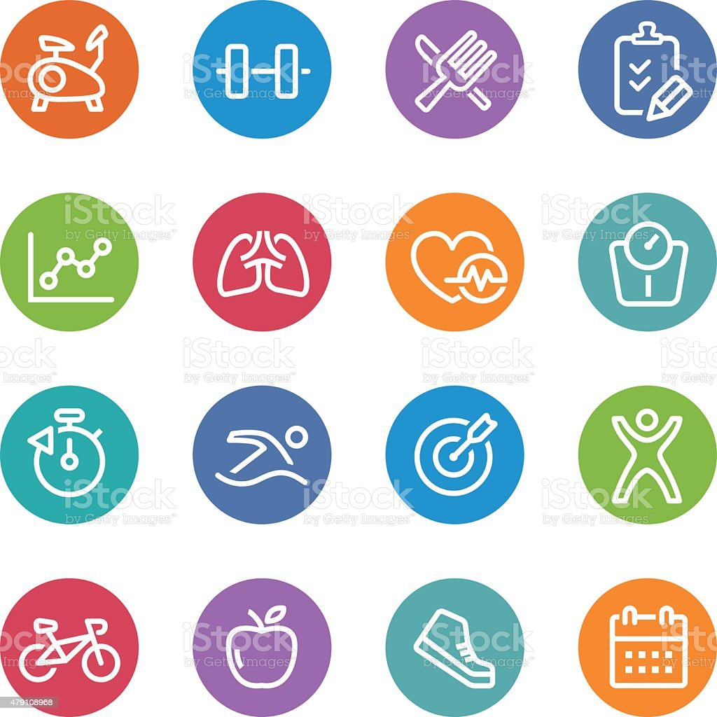 Healthy and Fitness Icons - Circle Line Series vector art illustration