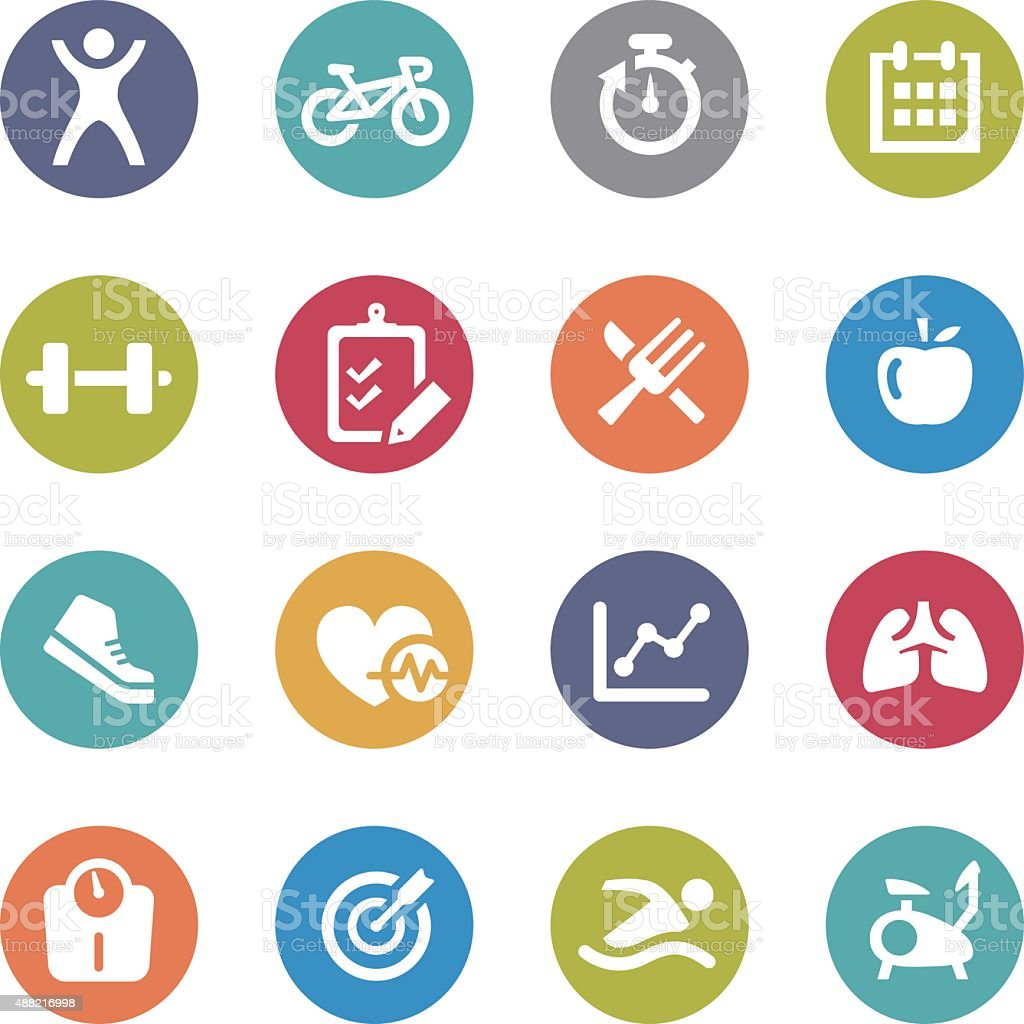 Healthy and Fitness Icons - Circle Series vector art illustration
