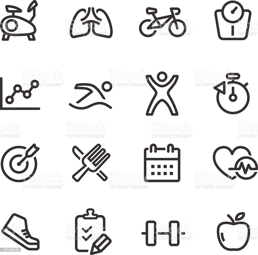 Healthy and Fitness Icons - Line Series vector art illustration