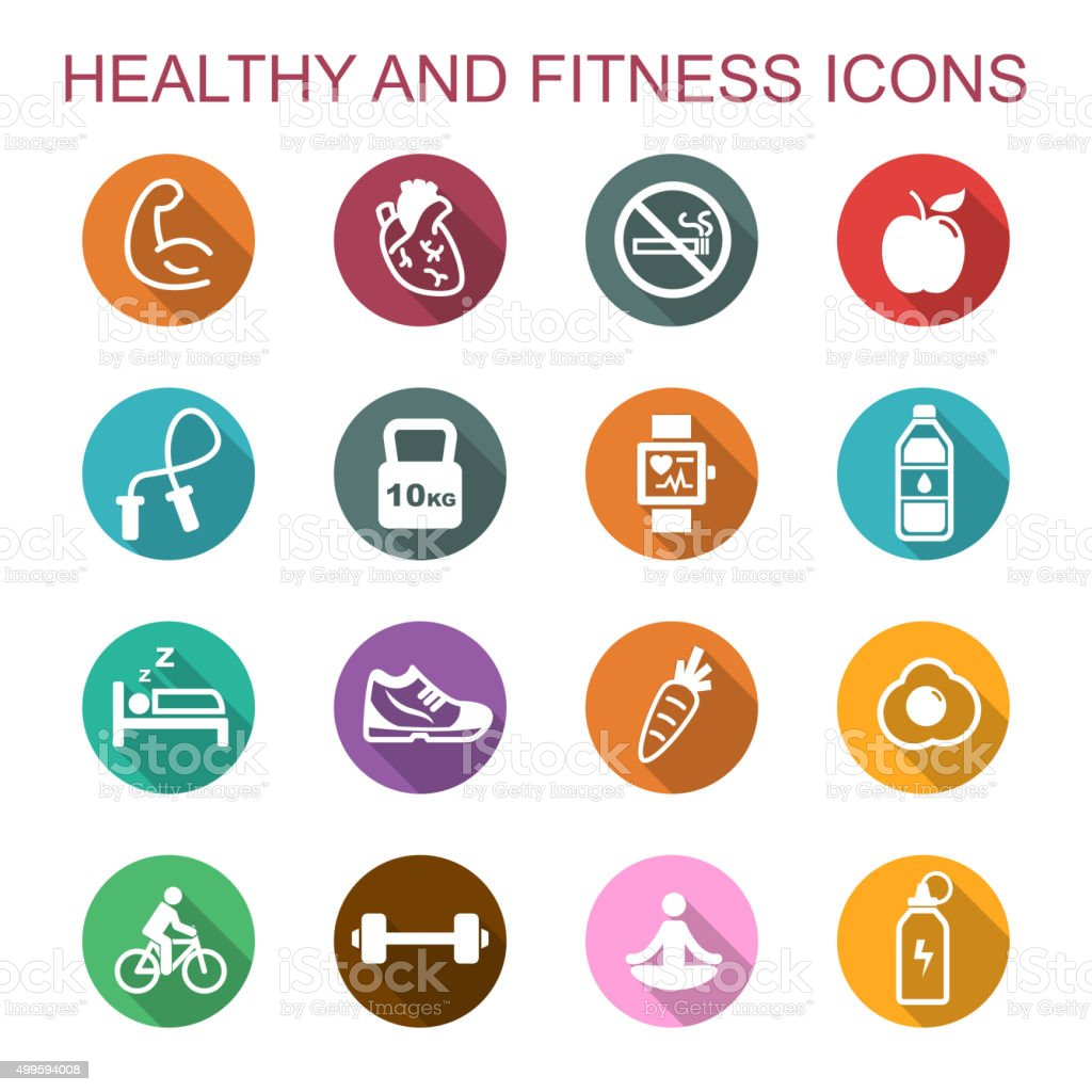 healthy and fitness long shadow icons vector art illustration