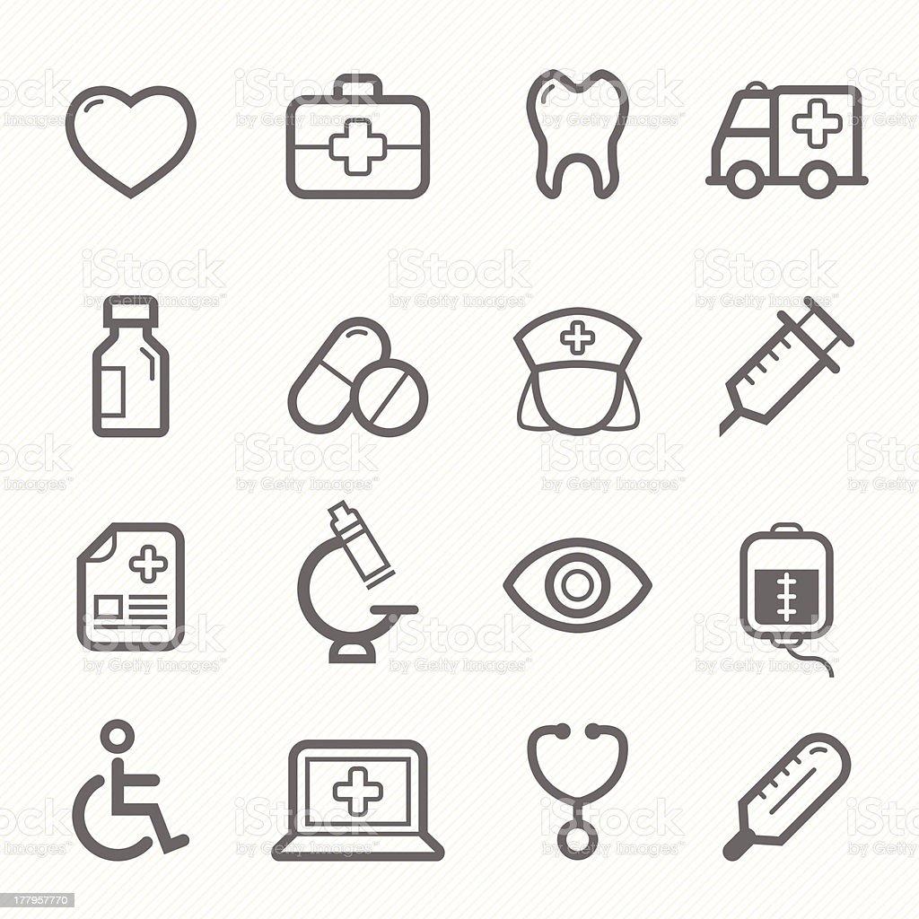 healthy and medical symbol line icon set vector art illustration