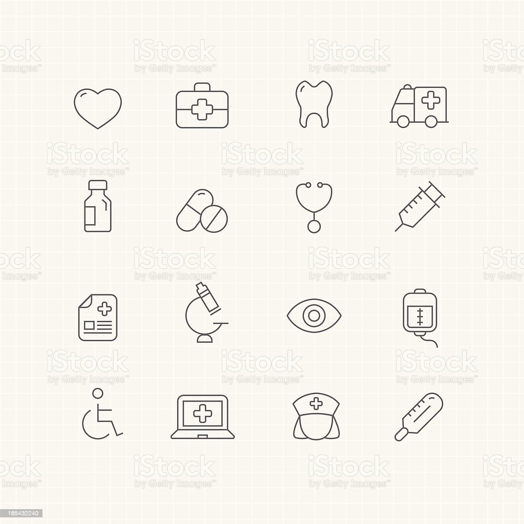 healthy and medical vector thin line symbol icon vector art illustration