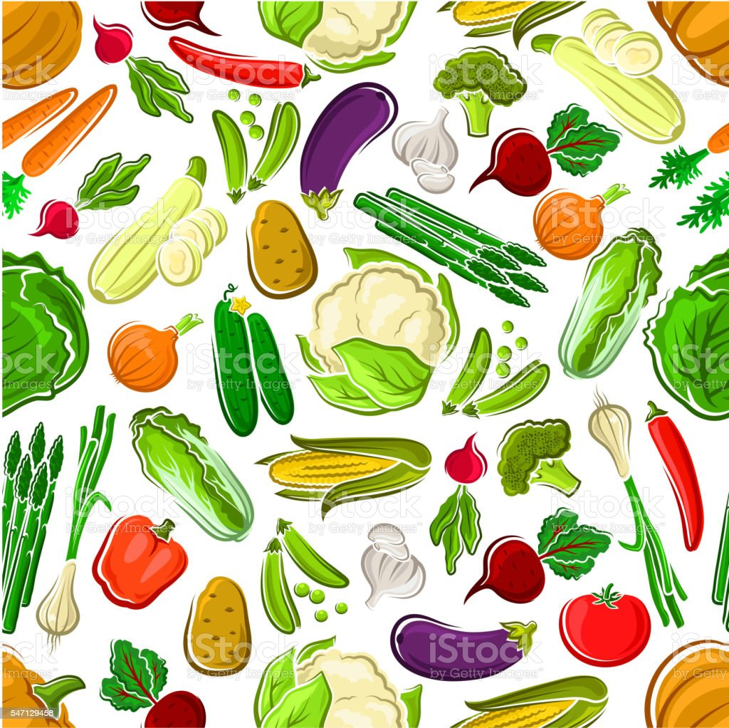 Healthy and raw farm vegetables seamless pattern vector art illustration