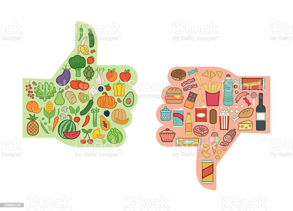 Healthy and unhealthy food vector art illustration