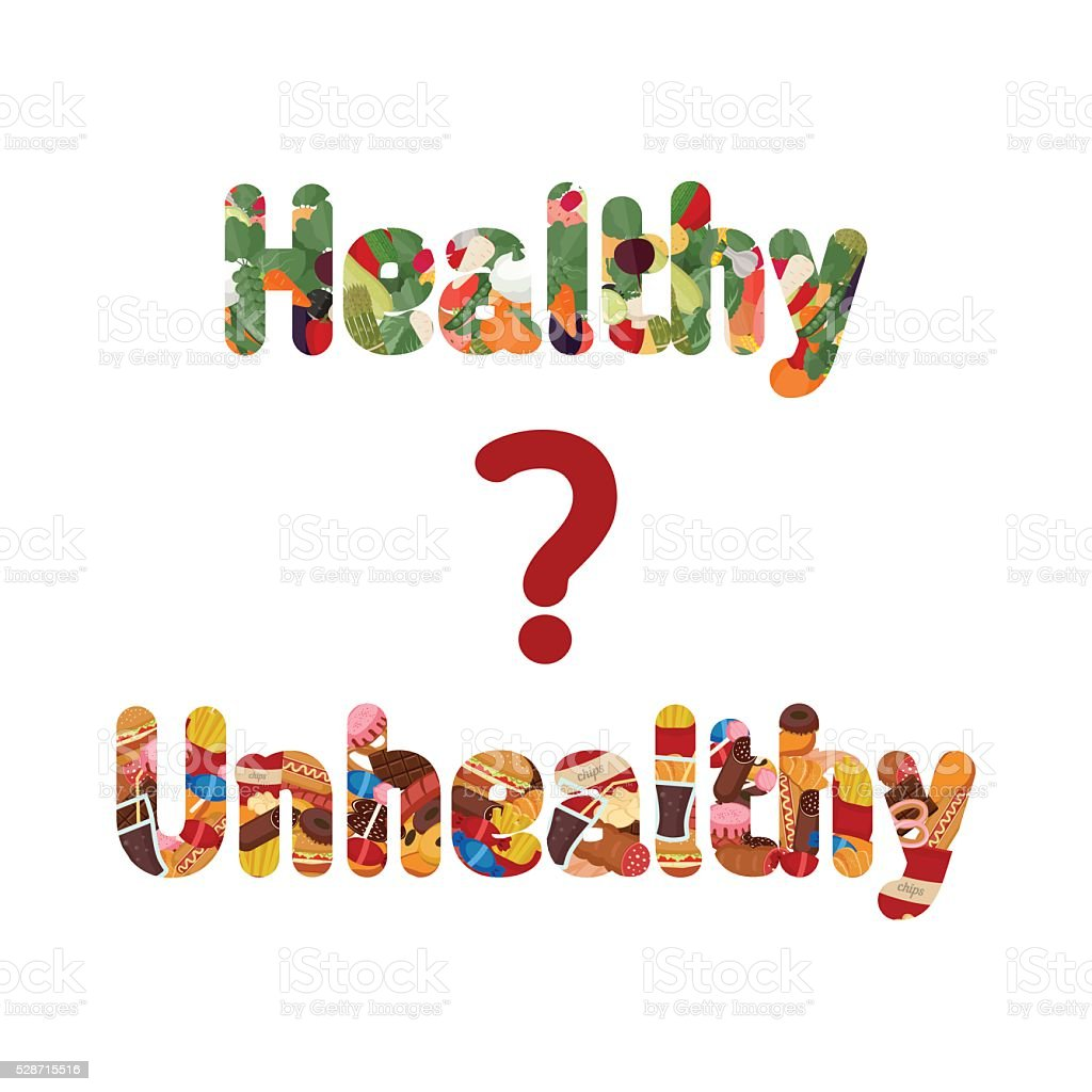 Healthy and unhealthy lettering. vector art illustration