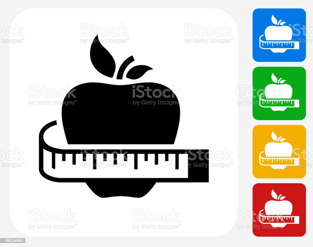 Healthy Apple Icon Flat Graphic Design vector art illustration