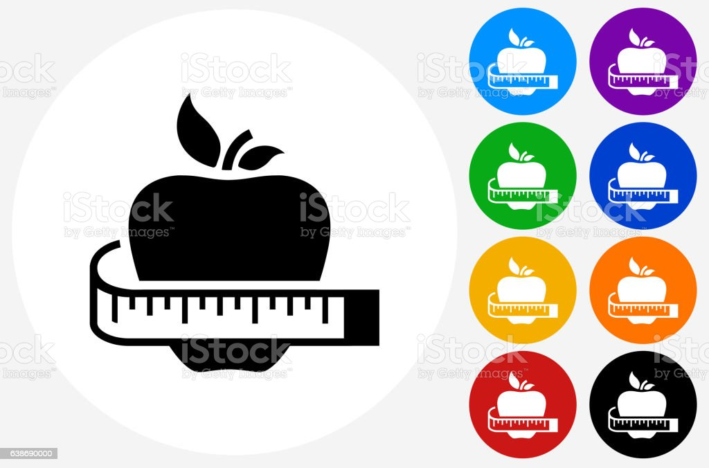 Healthy Apple Icon on Flat Color Circle Buttons vector art illustration