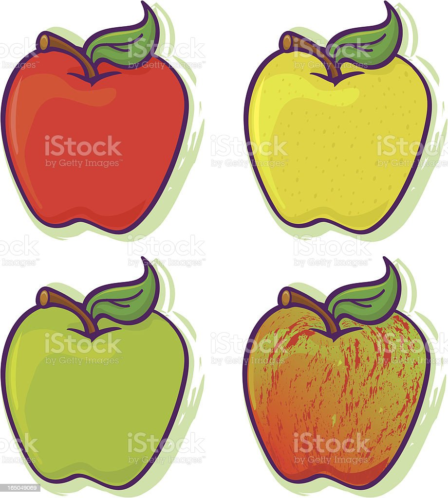 Healthy apples, fruit snack food vector art illustration