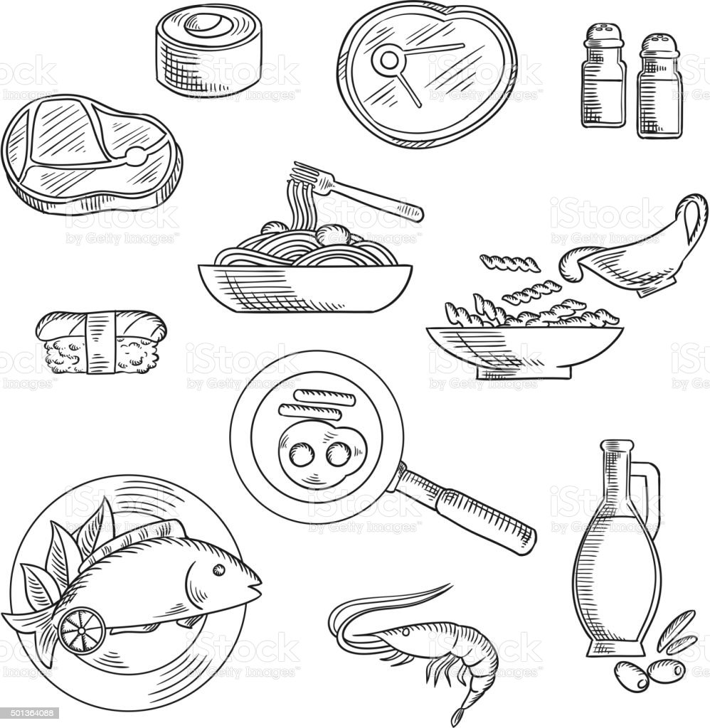 Healthy breakfast and lunch sketched icons vector art illustration
