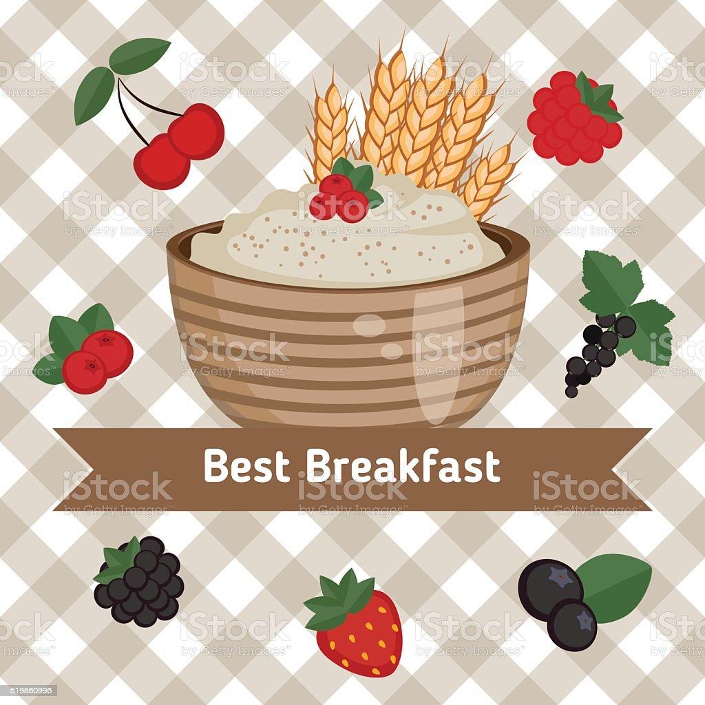 Healthy breakfast concept vector art illustration