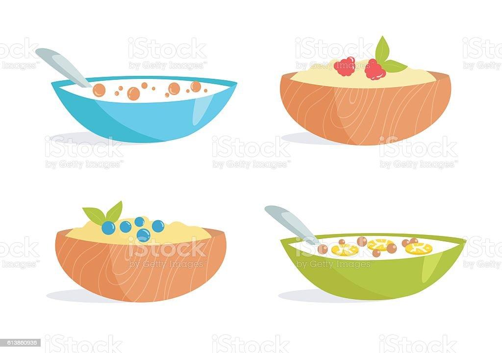 Healthy Breakfast. Porridge vector art illustration