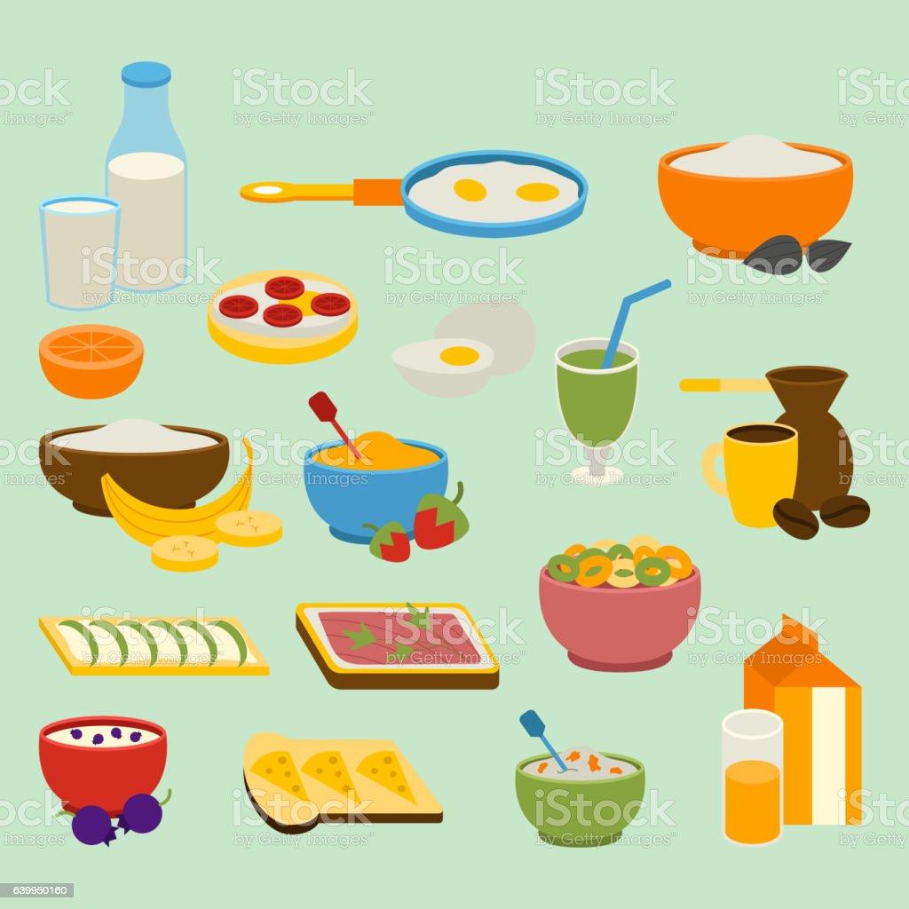 Healthy breakfast vector set. vector art illustration