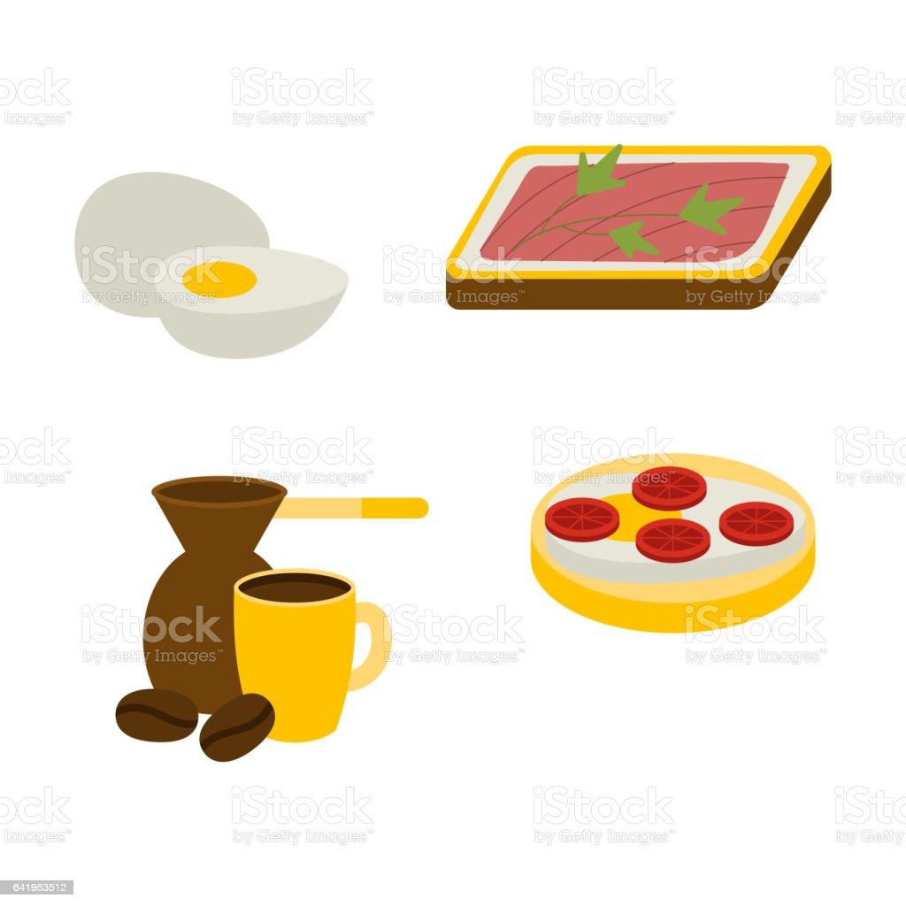 Healthy breakfast vector set vector art illustration