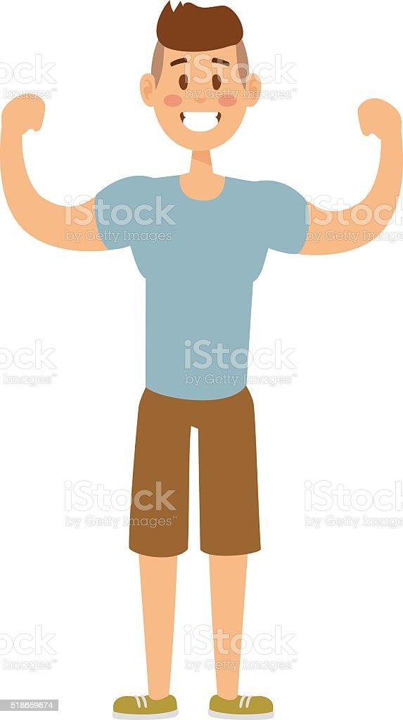 Healthy built strong sport man model fashionable active sportswear cartoon vector art illustration