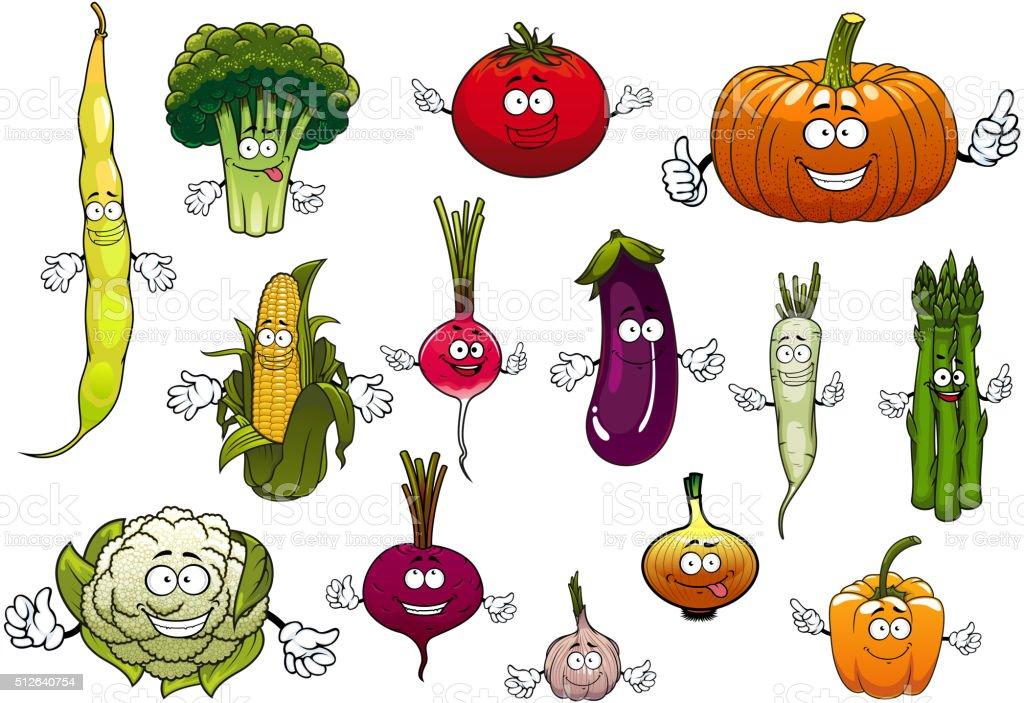 Healthy cartoon happy farm vegetables vector art illustration