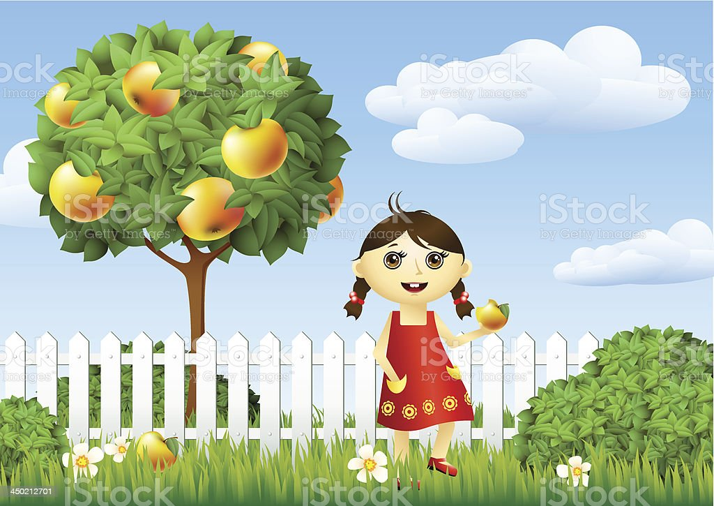 Healthy child in the garden royalty-free stock vector art